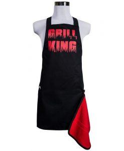 Šik v kuchyni pánská zástěra s otvírákem Grill King červená
