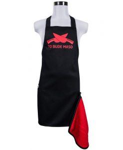 Šik v kuchyni pánská zástěra s otvírákem To bude maso červená
