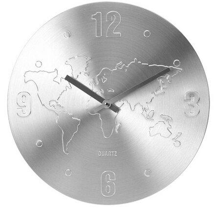 Nástěnné hodiny World stříbrná